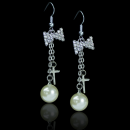 Ribbon Stone Cross and Pearl Dangling Earring - 105j48